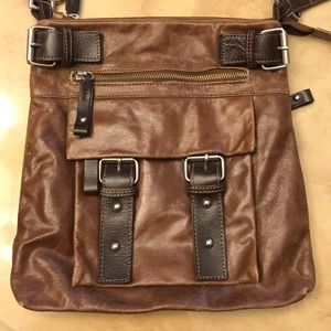 TANO Brown Distressed Leather Crossbody